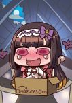 1girl amazon_(company) april_fools bangs blunt_bangs blush box brown_hair chibi fate/grand_order fate_(series) floating full_moon hair_bobbles hair_ornament hairband in_box in_container long_hair moon official_art open_mouth osakabe-hime_(fate/grand_order) pink_eyes riyo_(lyomsnpmp) rooftop smiley_face tearing_up