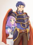1boy 1girl armor blue_eyes blue_hair blush cape fire_emblem fire_emblem:_rekka_no_ken florina gloves hector_(fire_emblem) highres jewelry long_hair pegasus_knight purple_hair short_hair simple_background smile wspread