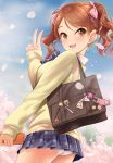 1girl alternate_hairstyle ass bag blush bow brown_eyes brown_hair cardigan cherry_blossoms eyebrows_visible_through_hair from_below hair_bow hair_ornament hairclip highres houjou_karen idolmaster idolmaster_cinderella_girls kazu keychain long_hair looking_at_viewer miniskirt open_mouth orange_hair panties pantyshot pantyshot_(standing) petals pleated_skirt school_uniform skirt smile solo standing underwear v white_panties