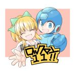 ! 1boy 1girl blonde_hair blue_eyes blue_gloves border bow capcom child clenched_hand closed_eyes commentary_request copyright_name fringe gloves hair_bow hair_ornament helmet high_ponytail hood hood_down hoodie open_mouth ponytail rockman rockman_(character) rockman_(classic) rockman_11 roll sidelocks smile text tobitori