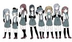 6+girls :> :d ^_^ arare_(kantai_collection) arashio_(kantai_collection) arm_warmers arms_behind_head asagumo_(kantai_collection) asashio_(kantai_collection) bangs black_hair black_legwear blue_eyes blue_ribbon blunt_bangs brown_eyes brown_hair closed_eyes closed_mouth collared_shirt commentary_request crossed_arms double_bun expressionless eyebrows_visible_through_hair frown full_body ghost_in_the_shell ghost_in_the_shell_lineup ghost_in_the_shell_stand_alone_complex green_hairband green_ribbon grey_hair hair_between_eyes hair_flaps hair_over_shoulder hair_ribbon hair_rings hairband hand_on_hip hands_on_hips hands_together hat highres jitome kantai_collection kasumi_(kantai_collection) kneehighs lineup loafers long_hair looking_at_viewer michishio_(kantai_collection) multiple_girls neck_ribbon ooshio_(kantai_collection) open_mouth pleated_skirt purple_hair ribbon school_uniform shirt shoes short_hair side_ponytail simple_background skirt smile standing suspenders thigh-highs tonmoh twintails v-shaped_eyebrows white_background white_shirt yamagumo_(kantai_collection)