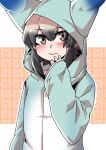 1girl absurdres african_wild_dog_(kemono_friends) alternate_costume blue_clothes blush covering_mouth eyebrows_visible_through_hair grey_hair hand_over_own_mouth highres hood japari_symbol kemono_friends long_sleeves lucky_beast_(kemono_friends) multicolored_hair short_hair smile solo takoongyi upper_body