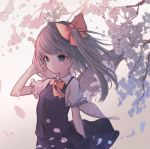 1girl absurdres arm_at_side blonde_hair blue_eyes blurry bow cherry_blossoms daiyousei depth_of_field eyebrows_visible_through_hair fairy_wings hair_blowing hair_bow hair_ribbon hand_in_hair highres hito_komoru looking_to_the_side navy_blue_skirt navy_blue_vest petals puffy_short_sleeves puffy_sleeves red_bow ribbon short_hair short_sleeves side_ponytail simple_background skirt skirt_set smile solo touhou tree white_background wind wind_lift wings