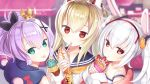 3girls :< :p animal_ears ayanami_(azur_lane) azur_lane bangs bare_shoulders black_ribbon blonde_hair blurry blurry_background capriccio closed_mouth crepe crown depth_of_field double_scoop eyebrows_visible_through_hair food gloves green_eyes hair_between_eyes hair_ornament hair_ribbon hairband head_tilt headgear holding holding_food ice_cream ice_cream_cone jacket javelin_(azur_lane) laffey_(azur_lane) long_hair long_sleeves looking_at_viewer looking_back mini_crown multiple_girls pink_jacket ponytail purple_hair rabbit_ears red_eyes red_hairband ribbon shirt sidelocks silver_hair sleeveless sleeveless_shirt sleeves_past_wrists strap_slip tongue tongue_out twintails white_camisole white_gloves white_shirt