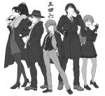 2boys 3girls bag black_gloves braid cellphone cigarette closed_eyes coat dress_shirt earrings executive_mishiro eyewear_removed facial_hair fedora formal full_body fur_collar glasses gloves greyscale hair_over_shoulder hands_in_pockets hat high_heels high_ponytail highres idolmaster idolmaster_cinderella_girls imanishi_(idolmaster) jacket jacket_on_shoulders jewelry loafers long_hair looking_at_viewer monochrome multiple_boys multiple_girls murakami_tomoe necktie nigou open_clothes open_coat open_jacket open_mouth pantyhose pencil_skirt phone ponytail producer_(idolmaster_cinderella_girls_anime) scarf senkawa_chihiro shirt shoes short_hair shoulder_bag simple_background single_braid skirt smartphone smile stubble suit sunglasses translated vest watch watch white_background