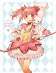 1girl :3 absurdres argyle argyle_background bow bow_(weapon) bubble_skirt commentary copyright_name english_commentary eyebrows_visible_through_hair gloves hair_bow highres holding kaname_madoka kyubey looking_at_viewer magical_girl mahou_shoujo_madoka_magica mochii pink_eyes pink_hair red_bow short_hair signature skirt solo standing twintails weapon white_gloves wide-eyed