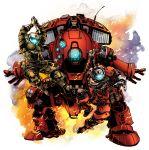 2boys antennae armor clothes fire helmet highres i_(220_i_284) kunai mecha multiple_boys pilot_(titanfall_2) robot scorch_(titanfall_2) titan titanfall titanfall_2 visor weapon