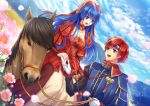 1boy 1girl blue_eyes blue_hair blush cape couple dress fire_emblem fire_emblem:_fuuin_no_tsurugi fire_emblem_heroes flower gloves hat hetero horse jewelry lilina long_hair open_mouth redhead roy_(fire_emblem) short_hair smile