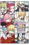 4girls 4koma 6+boys 9_alpha artist_name black_hair blonde_hair blue_hair candy chin_rest comic copyright_name darling_in_the_franxx food gorou_(darling_in_the_franxx) green_eyes green_hair grey_hair hairband highres hiro_(darling_in_the_franxx) lollipop mato_(mozu_hayanie) mitsuru_(darling_in_the_franxx) multiple_boys multiple_girls pink_hair smile translation_request uniform zero_two_(darling_in_the_franxx)