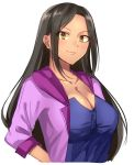 1girl black_hair blue_shirt breasts brown_eyes cleavage collarbone fuchina idolmaster idolmaster_cinderella_girls jacket large_breasts long_hair looking_at_viewer mukai_takumi purple_jacket shirt simple_background sleeves_rolled_up smile solo upper_body white_background