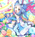 3girls :d :o animal_ears armband azumarill black_eyes blue_hair blue_legwear blush bow breasts cleavage detached_sleeves double_bun egg egg_hair_ornament food_themed_hair_ornament fuwasn1545 hair_bun hair_ornament hairclip hat highres long_hair looking_at_viewer marill multiple_girls open_mouth personification pink_ribbon pokemon rabbit_ears ribbon smile tail wide_sleeves