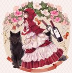 1girl argyle argyle_background artist_name bangs bottle braid brown_eyes brown_hair clenched_hand commentary_request dress elbow_gloves flower food from_side fruit gloves grimm's_fairy_tales hood hood_up lace layered_dress little_red_riding_hood little_red_riding_hood_(grimm) lolita_fashion long_dress long_hair looking_back needle original pin red_dress red_gloves red_hood red_ribbon ribbon scissors solo spool strawberry supika thread wine_bottle wolf