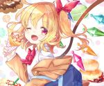 1girl ;d alternate_costume blonde_hair bow bowtie brown_jacket bubble_background commentary_request crepe doughnut eyebrows_visible_through_hair eyes_visible_through_hair fang flandre_scarlet food fruit gem hair_ribbon holding holding_food jacket long_sleeves looking_at_viewer medium_hair mimi_(mimi_puru) one_eye_closed one_side_up open_mouth pancake plaid_neckwear pon_de_ring red_eyes red_neckwear red_ribbon ribbon school_uniform shirt smile smoothie solo strawberry sweets tongue touhou upper_body white_background white_shirt wings