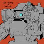 1boy armor bt-7274 clothes cooper eyes gloves helmet holding male_focus mask pilot robotic_eye single_color thumbs_up titanfall_2 vanguard visor