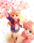 2girls :d alice_cartelet arm_up blonde_hair blue_eyes blue_skirt blurry blush cardigan cherry_blossoms collared_shirt depth_of_field eyebrows_visible_through_hair foreshortening from_above hair_bun hair_ornament highres jacket kin-iro_mosaic kneehighs kujou_karen long_hair multiple_girls navy_blue_legwear open_cardigan open_clothes open_jacket open_mouth petals pink_cardigan pink_eyes pleated_skirt red_footwear school_uniform shinonome_mozuku shirt skirt smile standing twintails union_jack white_background white_shirt wing_collar x_hair_ornament