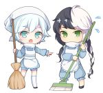 1boy 1girl apron blue_eyes broom cain7 chibi flying_sweatdrops green_eyes long_hair multicolored_hair open_mouth pointing short_hair silver_hair simple_background sweeping two-tone_hair vocaloid vocanese white_background yanhe yuezheng_longya