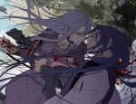 1boy 1girl assassin_(fate/stay_night) blood blue_eyes blue_hair caster fate/stay_night fate_(series) knife long_hair