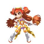 1girl amanogawa_kirara animated animated_gif bare_shoulders blinking boots cure_twinkle dress earrings go!_princess_precure jewelry long_hair lowres magical_girl orange_hair pixel_art precure ribbon smile solo standing tagme takoyaki_neko-san thigh-highs thigh_boots