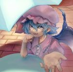 1girl annoyed artist_request bat_wings blue_eyes blue_hair dress fangs hand_on_own_chin looking_at_viewer pointy_ears remilia_scarlet short_hair sitting spread_fingers tagme tile_floor tiles touhou umbrella wings