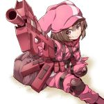 1girl aiming bangs belt bibi brown_hair bullpup eyebrows_visible_through_hair gloves grin gun hair_between_eyes hat highres holding holding_gun holding_weapon jacket knee_pads llenn_(sao) load_bearing_vest looking_at_viewer military military_uniform p90 pants pink_eyes pink_gloves pink_hat pink_jacket pink_pants short_hair smile solo submachine_gun sword_art_online sword_art_online_alternative:_gun_gale_online uniform weapon