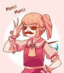 1girl ascot bangs blonde_hair brooch collar eyebrows_visible_through_hair facial_hair fake_facial_hair fake_mustache flandre_scarlet french frilled_collar frilled_sleeves frills gradient gradient_background highres jewelry mustache pointy_ears red_vest shirt short_hair short_ponytail side_ponytail solo standing sunglasses touhou upper_body vest white_shirt wings wrist_cuffs yoruny