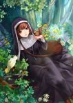 1girl animal animal_on_hand bag bangs bird black_dress brown_hair cherry cross cross_necklace dress flower food fruit highres jewelry long_dress looking_at_viewer marchen monogo necklace nun nun_(marchen) red_eyes short_hair shoulder_bag sitting solo sound_horizon squirrel tree white_flowers yellow_flower
