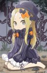 1girl abigail_williams_(fate/grand_order) bangs barefoot black_bow black_dress black_hat blonde_hair bloomers blue_eyes blush bow butterfly closed_mouth dress fate/grand_order fate_(series) forehead hair_bow hat insect long_hair long_sleeves on_ground orange_bow parted_bangs sitting sleeves_past_fingers sleeves_past_wrists smile solo tentacle twitter_username underwear v-shaped_eyebrows very_long_hair wariza white_bloomers younger yyo