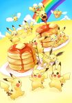 >_< :d alternate_color bird blue_sky blush_stickers brown_eyes carrying closed_eyes clouds combee commentary commentary_request creature day drifloon eating falling floating flying food gen_1_pokemon gen_4_pokemon gen_5_pokemon holding holding_food honey jolteon jumping ladder lai_(pixiv1814979) mouth_hold multiple_heads no_humans o_o open_mouth outstretched_arms pancake pikachu plate pokemon pokemon_(creature) rainbow scared scraggy shiny_pokemon sitting sky smile sphere standing swablu tongue tongue_out yellow