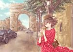 1girl :d arc_de_triomphe bag brown_eyes brown_hair car city cowboy_shot dappled_sunlight day dress food ground_vehicle handbag hat highres hoshiibara_mato lamppost long_sleeves looking_at_viewer motor_vehicle open_mouth original outdoors polka_dot polka_dot_dress red_dress road sandwich short_hair sidewalk smile solo standing straw_hat sunlight tree wind