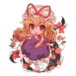 1girl :d bangs bent_elbow blonde_hair bow bridal_gauntlets chibi choker collared_dress commentary_request dress eyebrows_visible_through_hair flower frilled_dress frills full_body gap gloves hair_between_eyes hair_ribbon hat hat_ribbon holding holding_mask leaf long_hair looking_at_viewer masanaga_(tsukasa) mask masquerade_mask mob_cap one_leg_raised open_mouth petticoat pink_flower pink_rose plant puffy_short_sleeves puffy_sleeves purple_bow purple_dress red_choker red_footwear red_ribbon ribbon ribbon_choker rose short_sleeves simple_background smile solo tareme touhou vines violet_eyes walking white_background white_gloves white_legwear yakumo_yukari