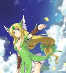 1girl blonde_hair blue_eyes blue_sky blush bow breasts breasts_apart bridal_gauntlets butterfly closed_mouth clouds cowboy_shot day denchuubou diadem dress ears emerald erect_nipples eyelashes frilled_dress frills green_bow green_dress headgear helmet insect long_hair looking_to_the_side low-tied_long_hair medium_breasts outstretched_hand petals riesz seiken_densetsu seiken_densetsu_3 sidelocks sky sleeveless sleeveless_dress smile solo spaulders staff standing thighs winged_helmet