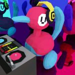 3d animated animated_gif bird closed_eyes commentary cortoony creature dancing dj full_body gen_2_pokemon headphones multicolored music no_humans phonograph pokemon pokemon_(creature) polygonal porygon2 record reflection
