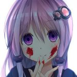 1girl bangs blood blood_on_face blood_on_fingers blush chinomaron closed_mouth eyebrows_visible_through_hair face fingernails hair_between_eyes hair_ornament hands_up head_tilt highres long_hair looking_at_viewer portrait purple_hair simple_background smile solo violet_eyes vocaloid voiceroid yuzuki_yukari