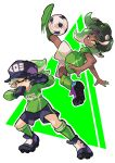 2girls ball black_gloves cleats dark_skin gloves hat hotaru_(splatoon) iida_(splatoon) kicking kneehighs licking_lips looking_at_viewer midair motion_blur multiple_girls one_eye_closed shorts soccer soccer_ball soccer_uniform socks splatoon splatoon_1 splatoon_2 sportswear tentacle_hair tongue tongue_out upside-down wong_ying_chee