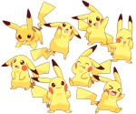 >_< :3 :d :o akanbe blush_stickers brown_eyes closed_eyes closed_mouth creature expressions gen_1_pokemon hand_on_own_face highres jumping lai_(pixiv1814979) looking_at_viewer looking_away looking_up no_humans open_mouth pikachu pokemon pokemon_(creature) pose running sad simple_background sitting smile standing tongue tongue_out too_many too_many_pikachu white_background