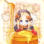1girl :p abigail_williams_(fate/grand_order) bangs black_bow black_dress black_hat blonde_hair blue_eyes blush bow butter chibi closed_mouth commentary dress eyebrows_visible_through_hair fate/grand_order fate_(series) food forehead fork fruit hair_bow hat holding holding_fork holding_knife knife long_hair long_sleeves looking_at_viewer orange_bow pancake parted_bangs plaid plaid_background raspberry signature sleeves_past_fingers sleeves_past_wrists smile solo stack_of_pancakes syrup takanashi_hiyori teapot tongue tongue_out