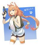 1girl ahoge animal_ears backpack bag bangs bare_arms bare_shoulders bike_shorts black_choker black_shorts blue_eyes blush camouflage cat_ears choker cropped_legs fang flat_chest gun hair_bobbles hair_ornament hair_tie handgun highres hinata_channel holding holding_gun holding_weapon long_hair looking_afar looking_away low_twintails nekomiya_hinata open_mouth orange_hair pistol playerunknown's_battlegrounds shiny shiny_hair shinyu_xingyu shorts solo striped striped_legwear thigh-highs translated trigger_discipline twintails two-tone_background very_long_hair virtual_youtuber weapon white_tank_top wrist_cuffs