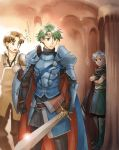 3boys ? alm_(fire_emblem) armor artist_name boey_(fire_emblem) boots brown_hair cape circlet crossed_arms dark_skin fire_emblem fire_emblem_echoes:_mou_hitori_no_eiyuuou gloves green_eyes green_hair headband male_focus multiple_boys open_mouth shield sword tamami_if teeth tobin_(fire_emblem) weapon white_hair