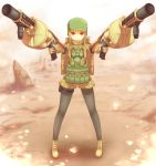 1girl bangs black_legwear blonde_hair blunt_bangs boots desert fukaziroh_(sao) full_body gloves grenade_launcher gun helmet highres holding holding_gun holding_weapon holster jacket long_sleeves looking_at_viewer military military_uniform pantyhose red_eyes sakaokasan short_hair short_hair_with_long_locks shorts sidelocks smile solo standing sword_art_online sword_art_online_alternative:_gun_gale_online thigh_holster uniform weapon