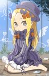 1girl abigail_williams_(fate/grand_order) bangs barefoot black_bow black_dress black_hat blonde_hair bloomers blue_eyes blush bow butterfly closed_mouth dress fate/grand_order fate_(series) forehead hair_bow hat insect long_hair long_sleeves on_ground orange_bow parted_bangs sitting sleeves_past_fingers sleeves_past_wrists solo twitter_username underwear v-shaped_eyebrows very_long_hair wariza white_bloomers younger yyo