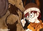 1girl black-framed_eyewear blue_eyes character_request chrono_trigger closed_mouth commentary_request frown glasses hand_up hat holding lucca_ashtear orange_scarf redhead repairing robot scarf shirokuro-kun solo twitter_username