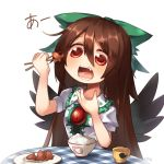 1girl artist_name asrielchu black_wings blush bow bowl brown_hair checkered chopsticks commentary_request cup fang food green_bow hair_between_eyes hair_bow hand_up holding long_hair mug open_mouth red_eyes reiuji_utsuho rice rice_bowl saucer shiny shiny_hair shirt signature simple_background solo table tako-san_wiener teeth third_eye touhou white_background white_shirt wings