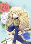 1girl androgynous artist_name blonde_hair blue_background blue_eyes blue_flower blue_rose epaulettes expressionless flower leaning_back long_hair looking_down looking_to_the_side military military_uniform nogi_akira oscar_francois_de_jarjayes rapier red_flower red_rose rose sash sword tunic uniform versailles_no_bara wavy_hair weapon white_flower white_rose