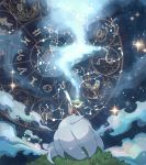 constellation dress gardevoir gen_3_pokemon grass green_hair highres inoue_(fydns7) mega_gardevoir mega_pokemon night night_sky outstretched_arms pokemon pokemon_(creature) red_eyes sky solo star_(sky) starry_sky