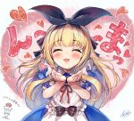 1girl :d ^_^ akabane_(zebrasmise) apron bangs black_ribbon blonde_hair blown_kiss blue_dress blush closed_eyes collared_dress commentary_request dress eyebrows_visible_through_hair facing_viewer fingernails hair_ribbon hands_up heart long_hair maid_apron mononobe_alice nijisanji open_mouth puffy_short_sleeves puffy_sleeves red_ribbon ribbon short_sleeves signature smile solo sparkle translation_request very_long_hair virtual_youtuber white_apron
