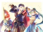 1girl 2boys axe blue_eyes blue_hair closed_eyes dress eliwood_(fire_emblem) fire_emblem fire_emblem:_rekka_no_ken fire_emblem_heroes gloves green_eyes green_hair hector_(fire_emblem) kuzumosu long_hair lyndis_(fire_emblem) multiple_boys open_mouth ponytail redhead short_hair smile weapon