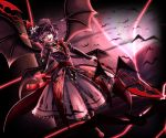 alternate_costume alternate_wings bat bat_wings blue_hair commentary_request fang fangs hand_on_own_chest highres holding holding_staff looking_at_viewer moon mountain multiple_wings red_eyes red_moon remilia_scarlet shimomu_(shimom2) short_hair staff touhou wings