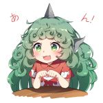 1girl :3 :d animal_ears blush bridal_gauntlets caramell0501 collared_shirt curly_hair eyebrows_visible_through_hair fang horn komano_aun long_hair open_mouth paw_pose red_shirt shiny shiny_hair shirt short_sleeves simple_background smile solo sparkling_eyes table tareme touhou translation_request upper_body v-shaped_eyebrows very_long_hair white_background