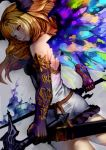 1girl blonde_hair closed_mouth colorful commentary_request cowboy_shot dark_angel_olivia dress elbow_gloves fiery_sword fiery_wings fire from_behind gloves granblue_fantasy grey_dress hair_ornament highres holding holding_sword holding_weapon horns looking_at_viewer looking_back multicolored multicolored_wings purple_gloves red_eyes scabbard sheath shimashima_(simasima_23) short_dress smile sword unsheathed weapon wings