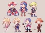 3girls 4boys armor blue_eyes blue_hair blush chibi clarine couple dorothy_(fire_emblem) dress fire_emblem fire_emblem:_fuuin_no_tsurugi fire_emblem_heroes hat highres jewelry klein_(fire_emblem) lilina long_hair multiple_boys multiple_girls open_mouth redhead roy_(fire_emblem) saul_(fire_emblem) short_hair simple_background sisuko1016 smile wolt